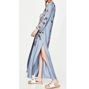 Jackets & Blazers - Floral Embroidered Denim Cardigan Jacket